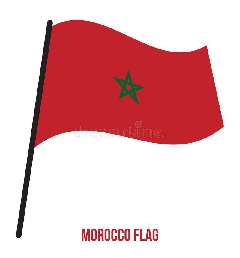 Ejemplo del vector que agita de la bandera de Marruecos en el fondo blanco Bandera nacional de Marruecos libre illustration