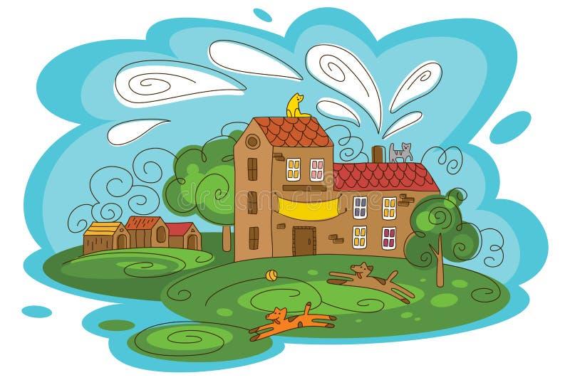 Ejemplo del vector del refugio para animales con los animales juguetones ilustración del vector