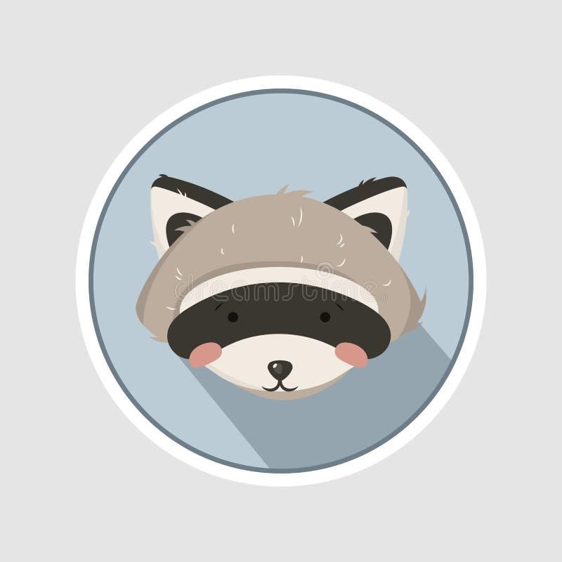Ejemplo del vector, retrato de la sentada del mapache Litlle y mapache lindo stock de ilustración