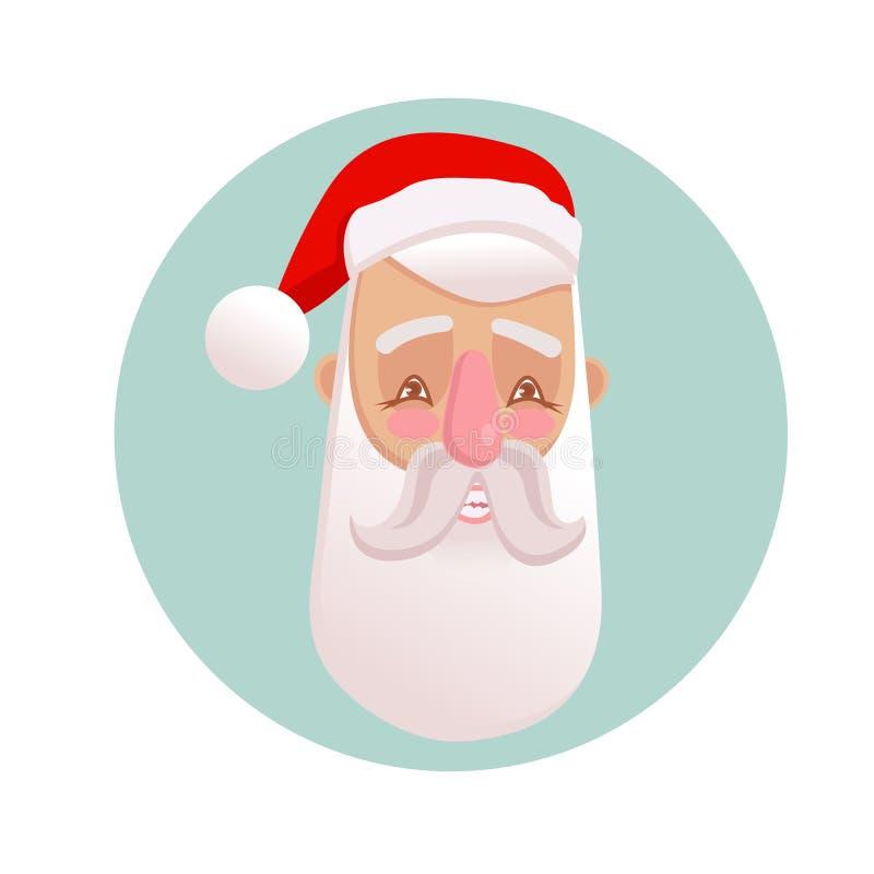 Ejemplo del vector del retrato positivo sonriente de Santa Claus Carácter de la Navidad en estilo de la historieta ilustración del vector