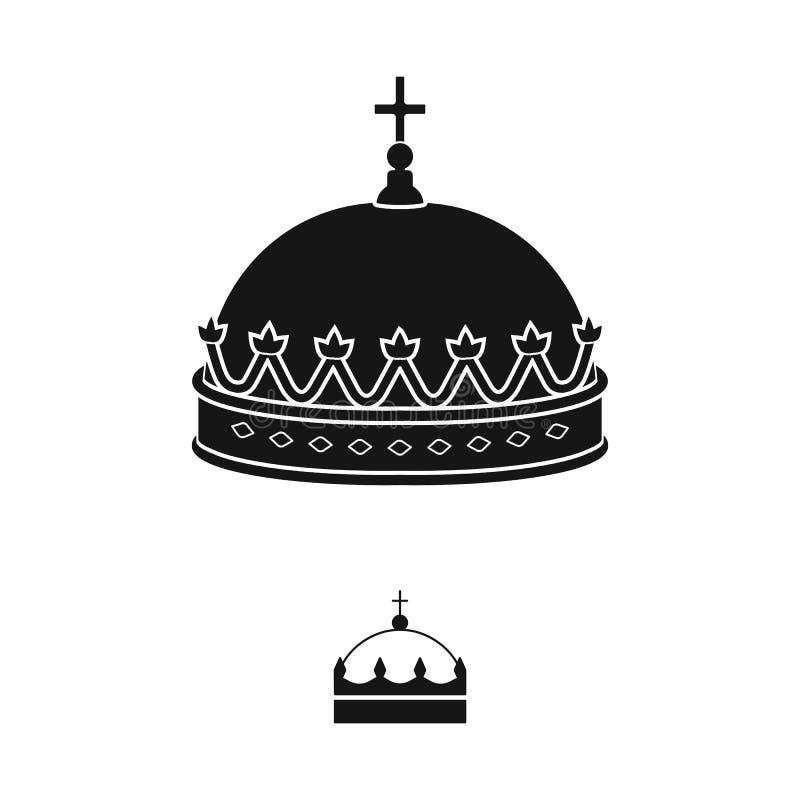 Ejemplo del vector del rey y del icono majestuoso Fije del icono del vector del rey y del oro para la acci?n stock de ilustración