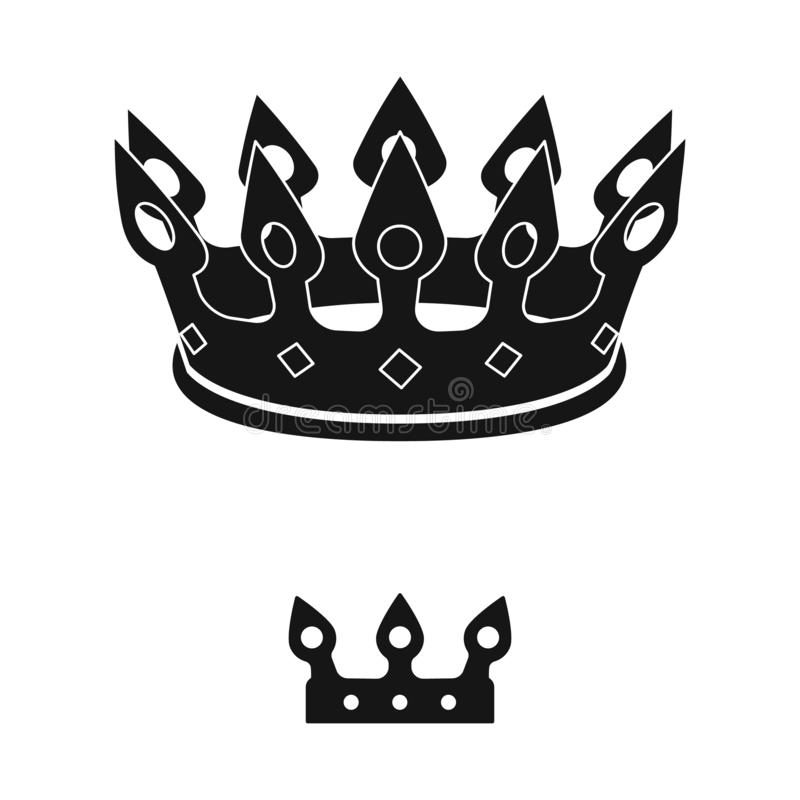 Ejemplo del vector del rey y del logotipo majestuoso Fije del icono del vector del rey y del oro para la acci?n stock de ilustración