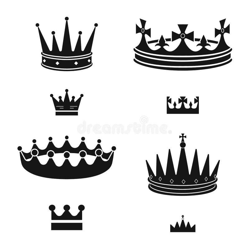 Ejemplo del vector del rey y del logotipo majestuoso Fije del s?mbolo com?n del rey y de oro para la web stock de ilustración