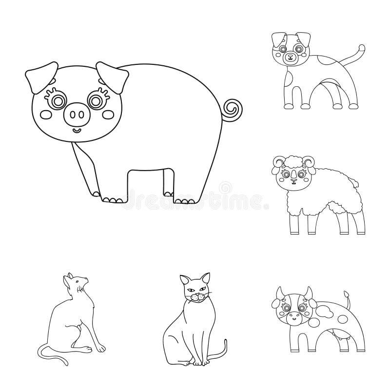 Ejemplo del vector del símbolo del animal y del hábitat Fije del símbolo común del animal y de granja para la web stock de ilustración