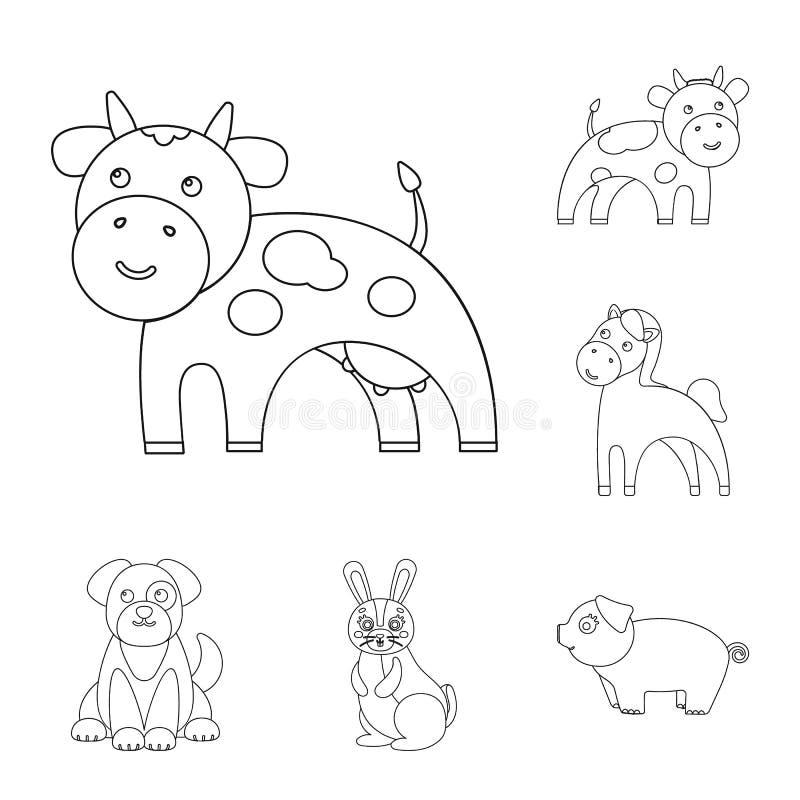 Ejemplo del vector del símbolo del animal y del hábitat Fije del icono del vector del animal y de la granja para la acción stock de ilustración
