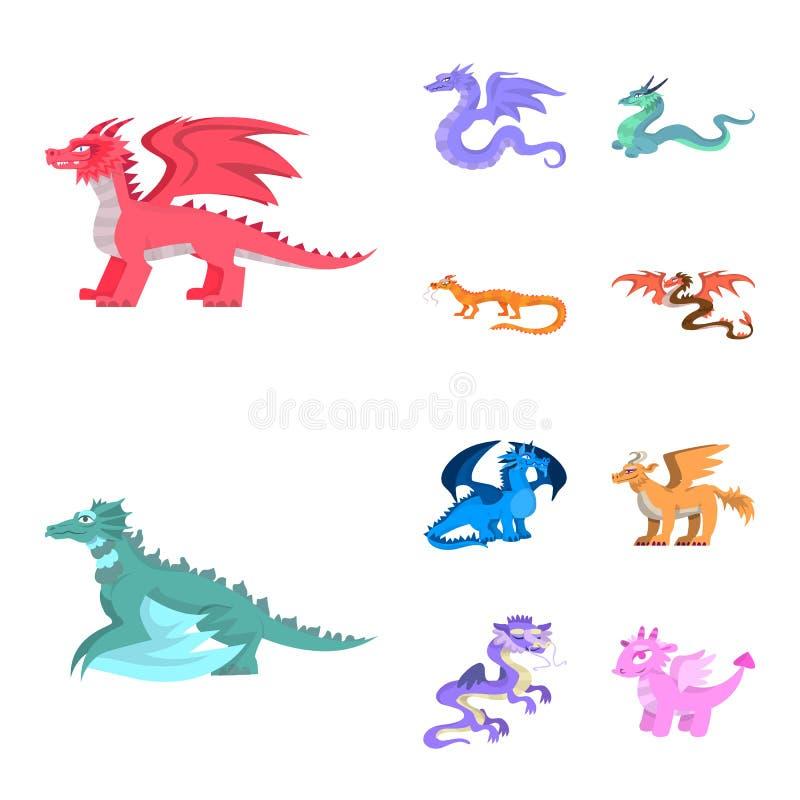Ejemplo del vector del símbolo del criatura y animal Colección de criatura y de ejemplo común medieval del vector stock de ilustración