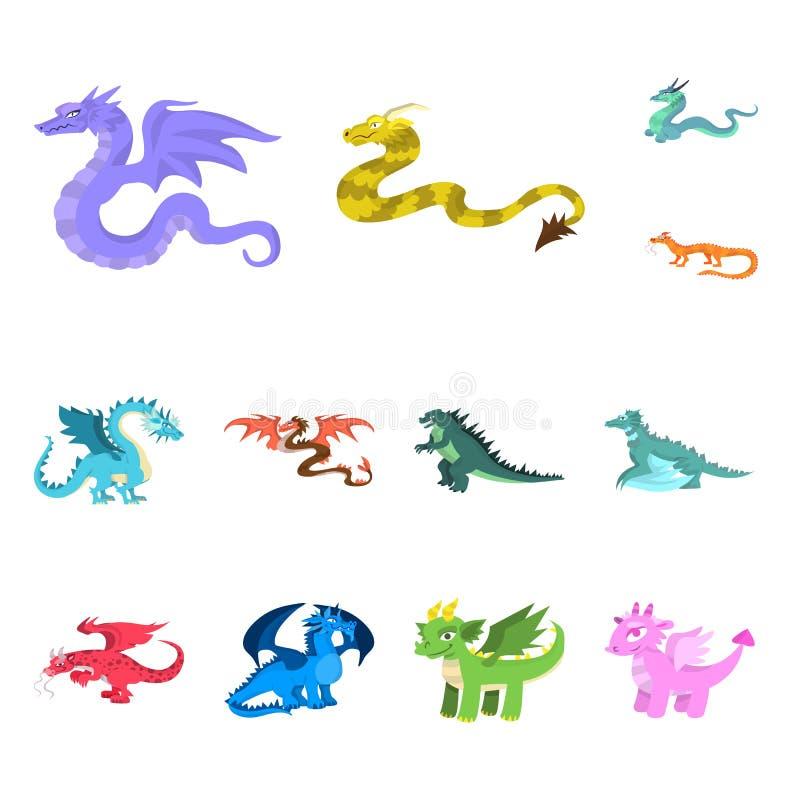 Ejemplo del vector del símbolo del criatura y animal Colección de criatura e icono medieval del vector para la acción libre illustration