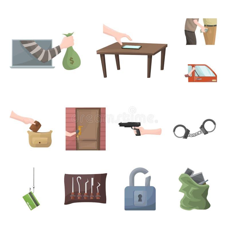 Ejemplo del vector del símbolo criminal y de la policía Fije de criminal y del símbolo común del robo para la web stock de ilustración