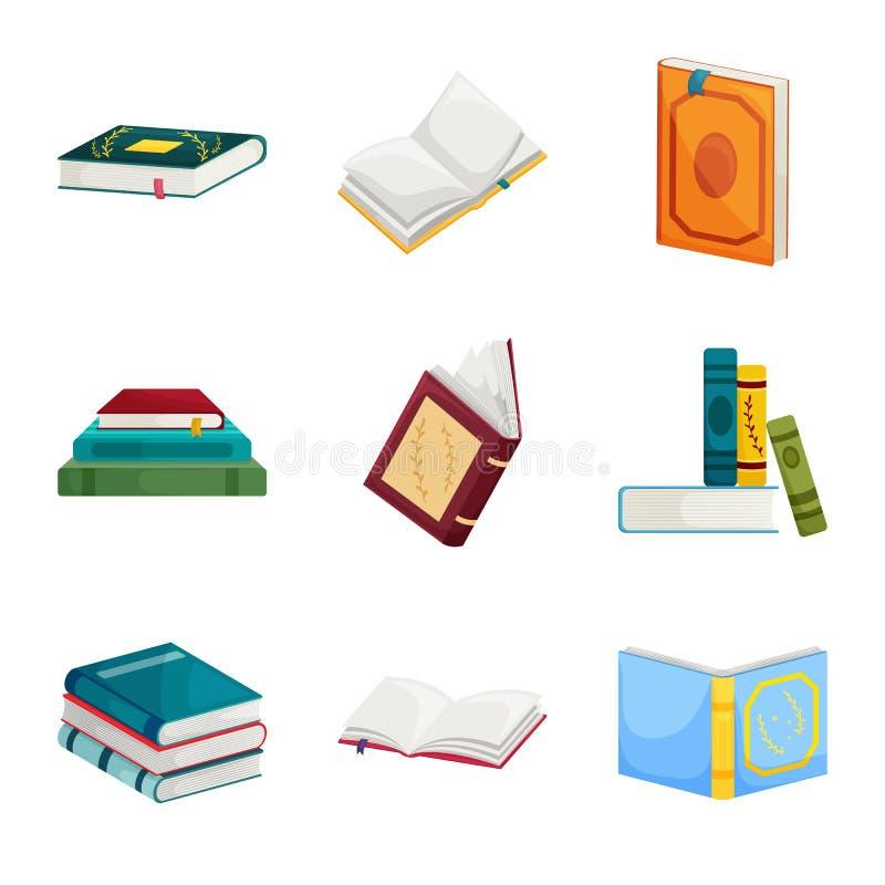 Ejemplo del vector del símbolo de la biblioteca y de la librería Colección de símbolo común de la biblioteca y de la literatura p ilustración del vector