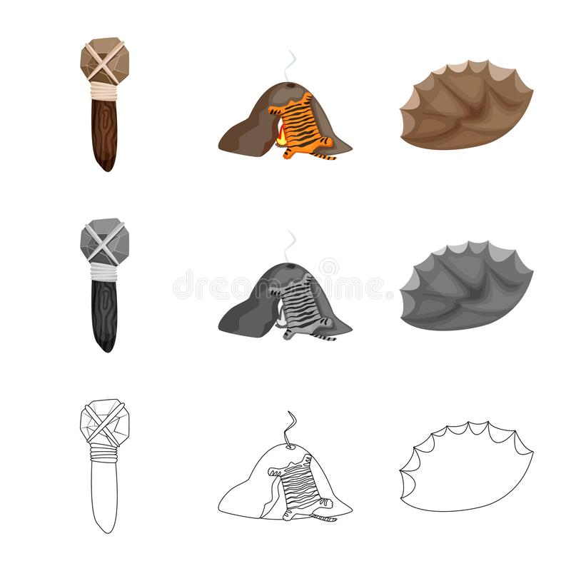 Ejemplo del vector del símbolo de la evolución y de la prehistoria Fije del icono del vector de la evolución y del desarrollo par ilustración del vector