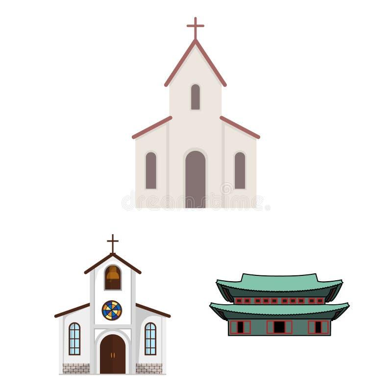 Ejemplo del vector del símbolo de la religión y de la boda Colección de religión y de símbolo común de la casa para la web libre illustration