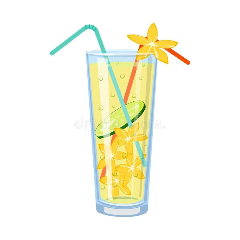 Ejemplo del vector del símbolo del limonada y de cristal Fije del ejemplo común del vector de la limonada y de la cal stock de ilustración