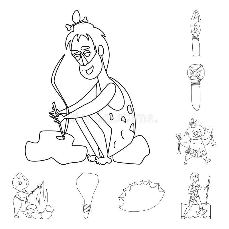 Ejemplo del vector del símbolo del primitivo y de la arqueología Colección de símbolo común del primitivo y de la historia para l ilustración del vector