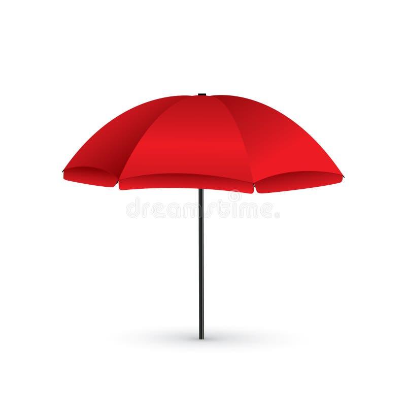Ejemplo del vector del símbolo rojo del día de fiesta del parasol de playa por el mar ilustración del vector