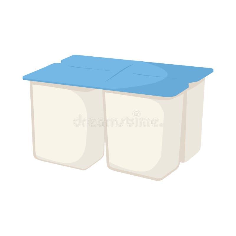 Ejemplo del vector del símbolo del yogur y del paquete Colección de símbolo común del yogur y del bocado para la web stock de ilustración