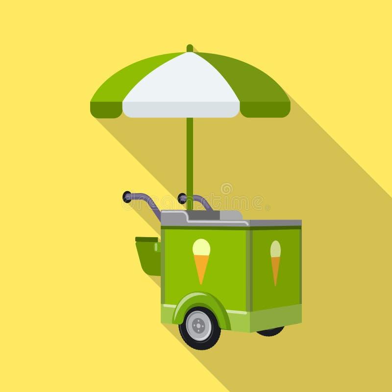 Ejemplo del vector del s?mbolo del carro y del parasol Fije del s?mbolo com?n del carro y de la sombrilla para la web libre illustration