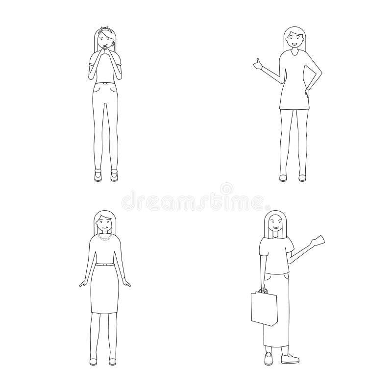 Ejemplo del vector del s?mbolo de la postura y del humor Colecci?n de postura y de s?mbolo com?n femenino para la web libre illustration