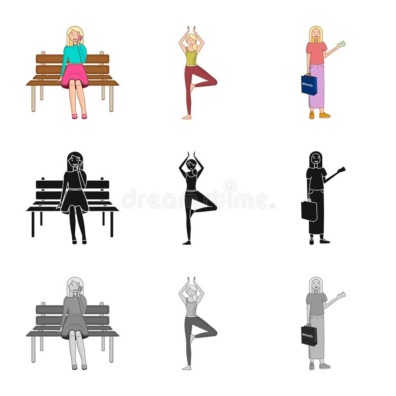Ejemplo del vector del s?mbolo de la postura y del humor Fije de postura y del icono femenino del vector para la acci?n libre illustration