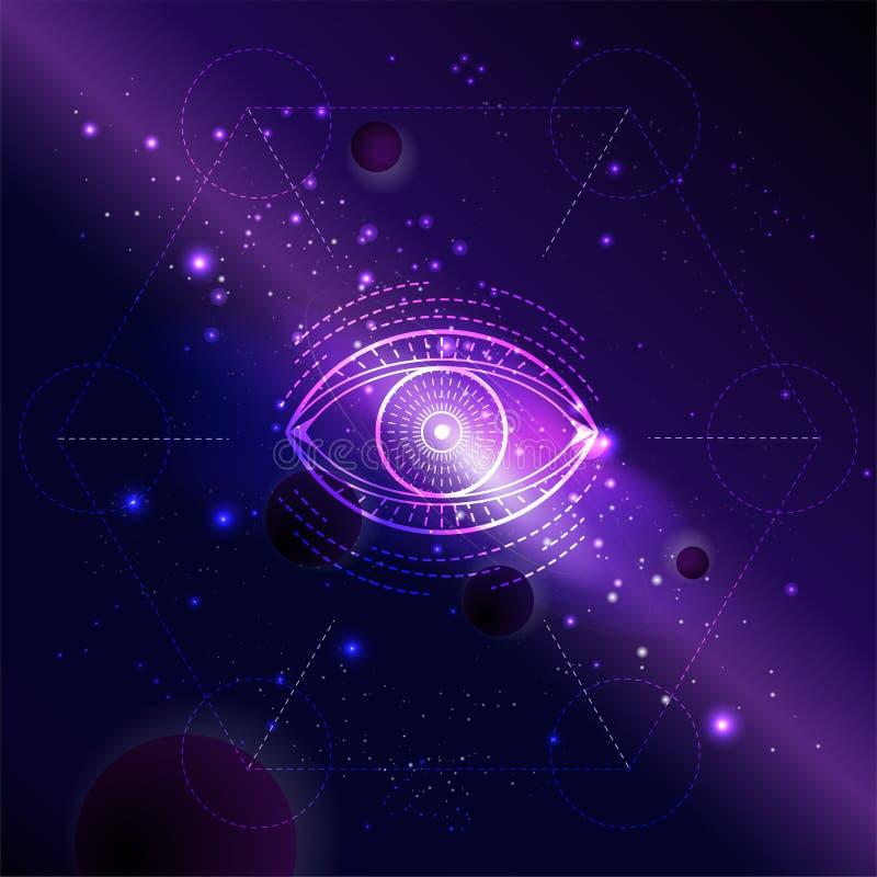 Ejemplo del vector del s?mbolo sagrado o m?stico contra el fondo del espacio con la galaxia y las estrellas ilustración del vector