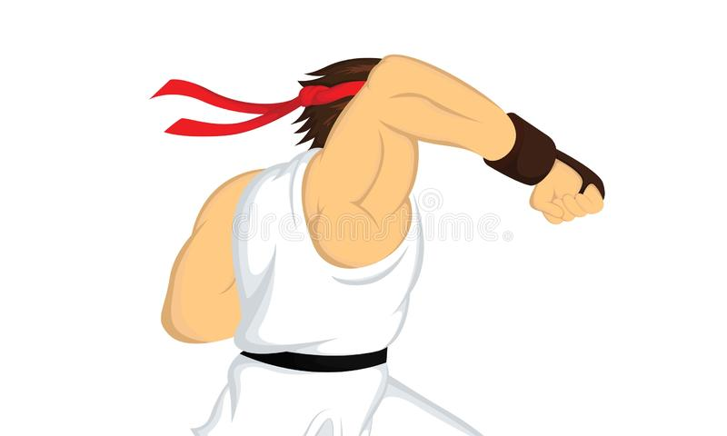 Ejemplo del vector del sacador del hombre del karate fotos de archivo libres de regalías