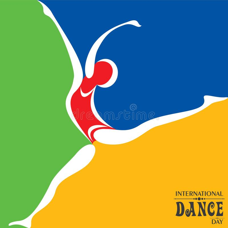Ejemplo del vector del saludo internacional del día de la danza stock de ilustración