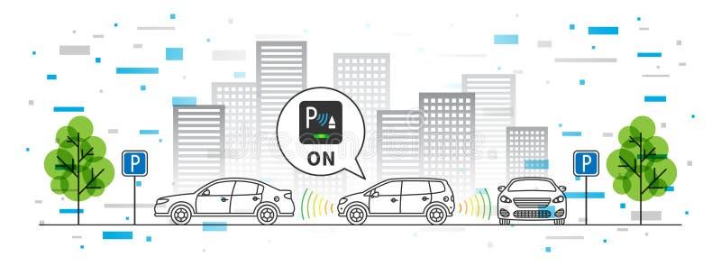 Ejemplo del vector del sensor del estacionamiento del coche con los elementos coloridos stock de ilustración