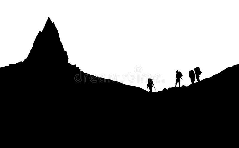 Ejemplo del vector: Siluetas si montañeses que se colocan debajo de la montaña libre illustration