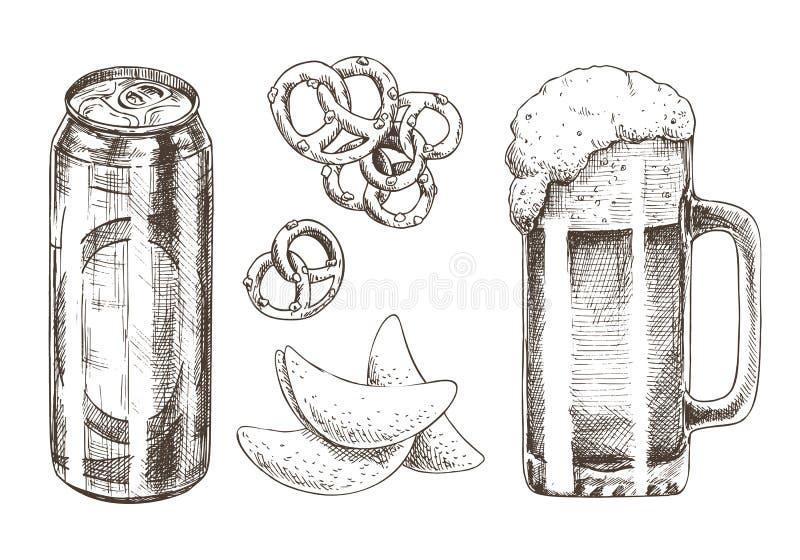 Ejemplo del vector del sistema de la cerveza y de la colección del bocado stock de ilustración