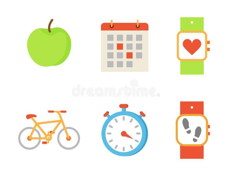 Ejemplo del vector del sistema de la fruta de la bicicleta y de Apple stock de ilustración