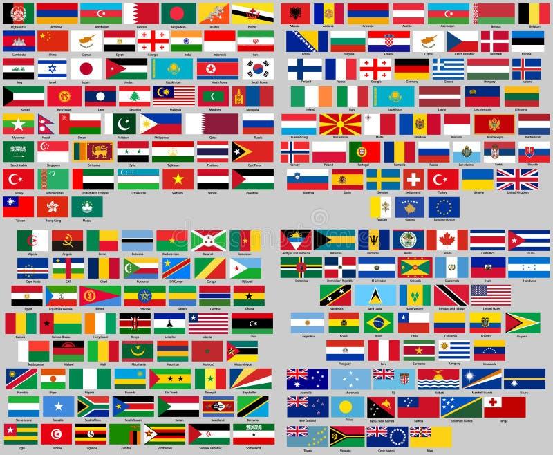 Ejemplo del vector del sistema de las banderas de países diferentes ilustración del vector
