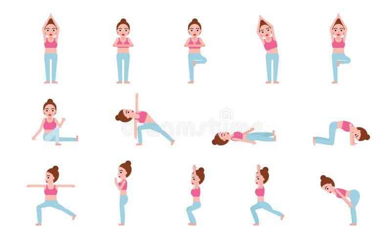 Ejemplo del vector del sistema de las posturas de la yoga, diseño plano ilustración del vector