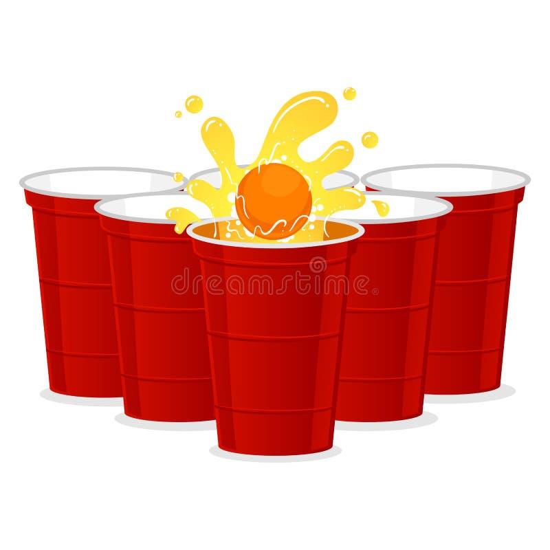 Ejemplo del vector del sistema de Pong de la cerveza con el chapoteo de la bola libre illustration