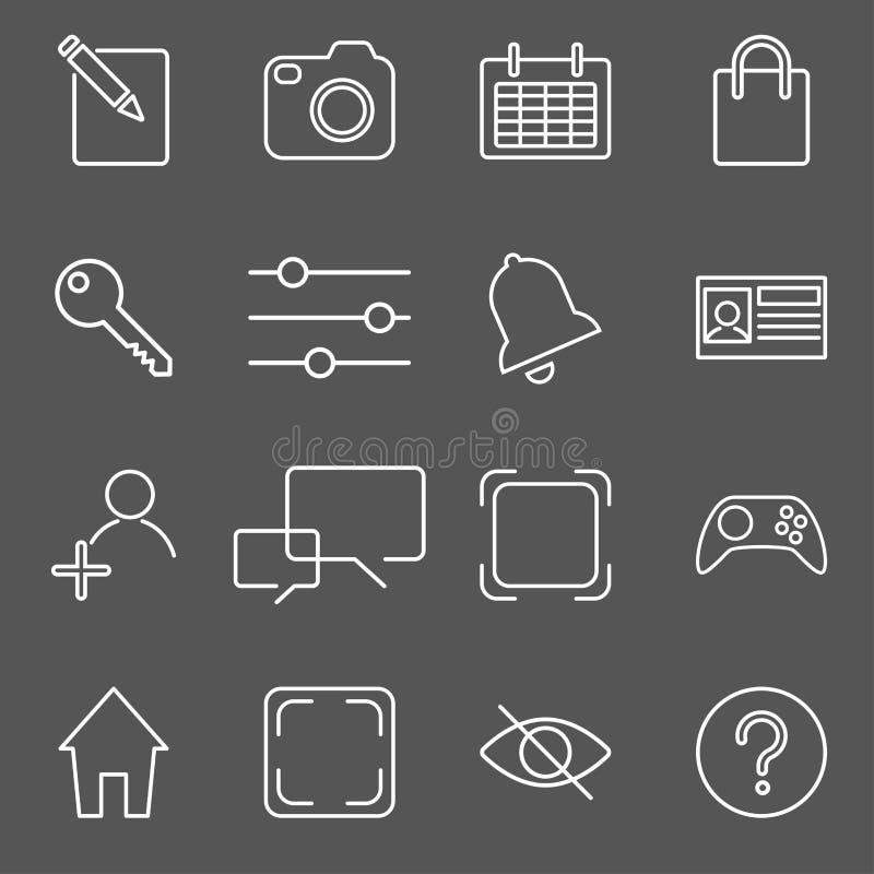 Ejemplo del vector del sistema del icono de los apps sobre la textura de lino libre illustration