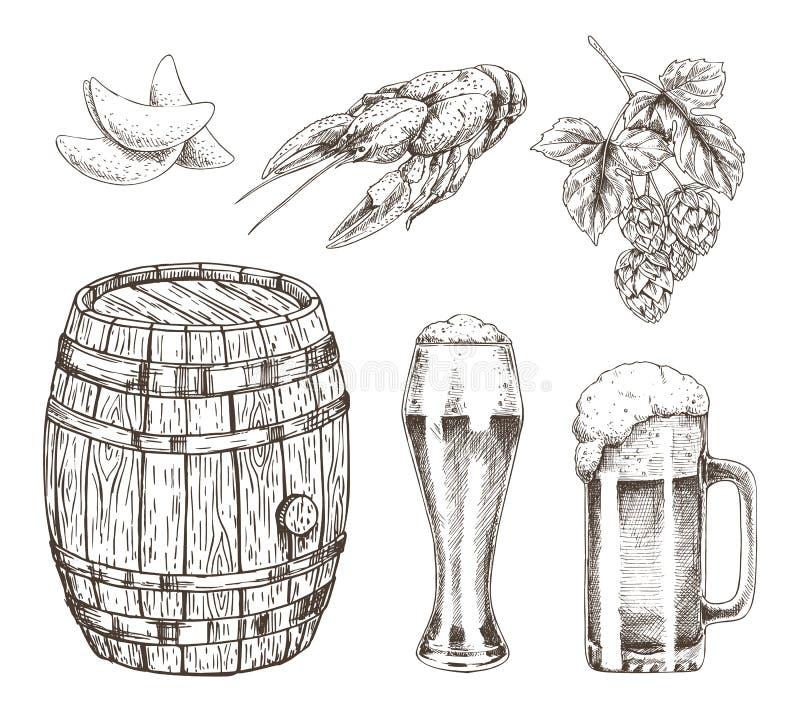 Ejemplo del vector del sistema del salto y del bocado de la cerveza de barril ilustración del vector