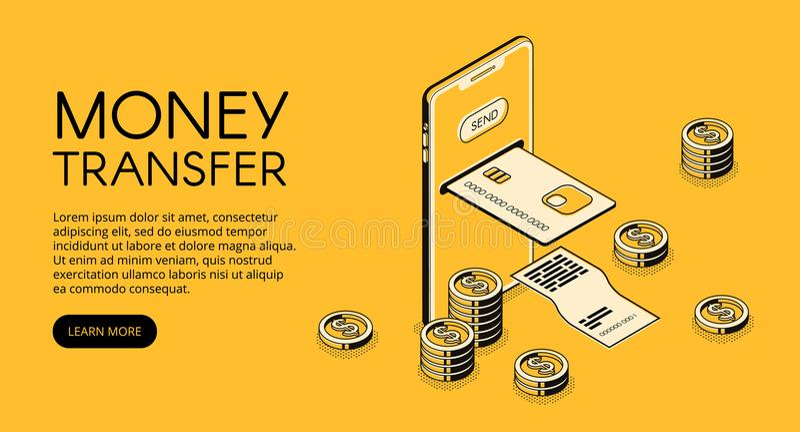 Ejemplo del vector del smartphone de la transferencia monetaria stock de ilustración