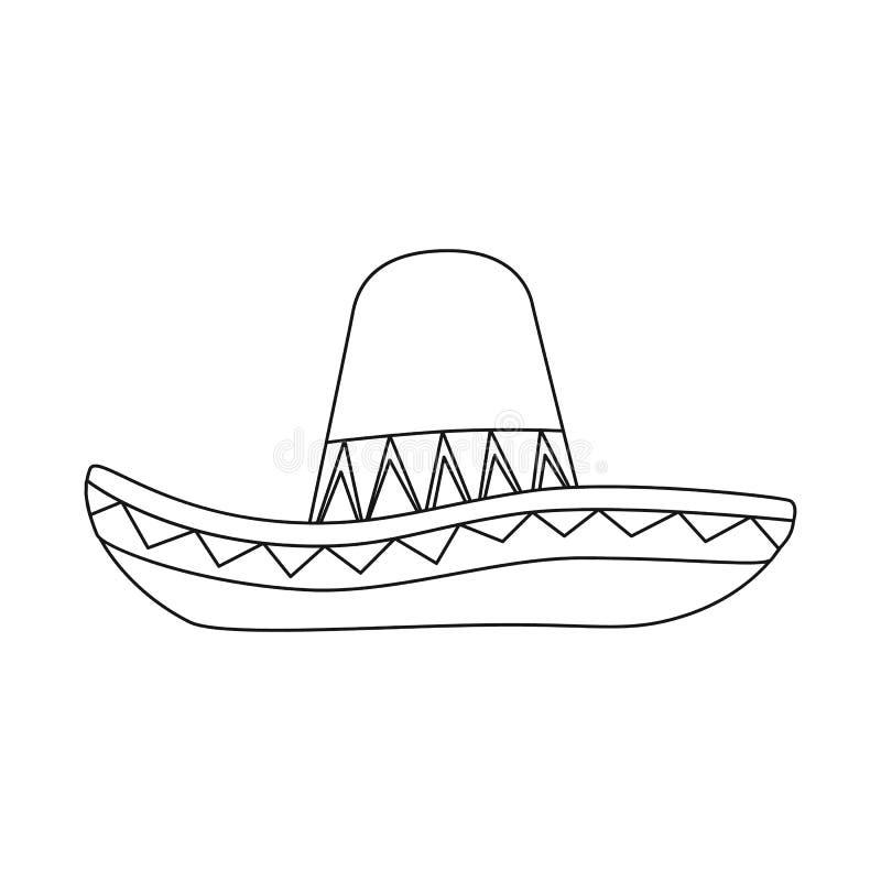 Ejemplo del vector del sombrero y del logotipo mexicano Fije del s?mbolo com?n del sombrero y del sombrero para la web libre illustration