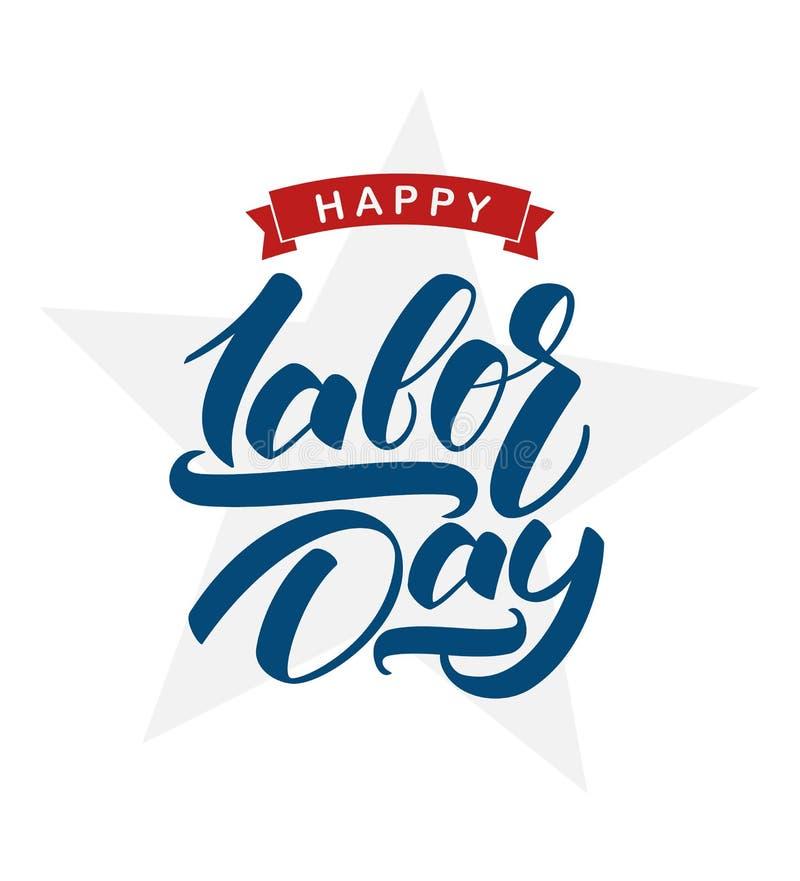 Ejemplo del vector: Tarjeta de felicitación con la mano que pone letras a Día del Trabajo feliz libre illustration