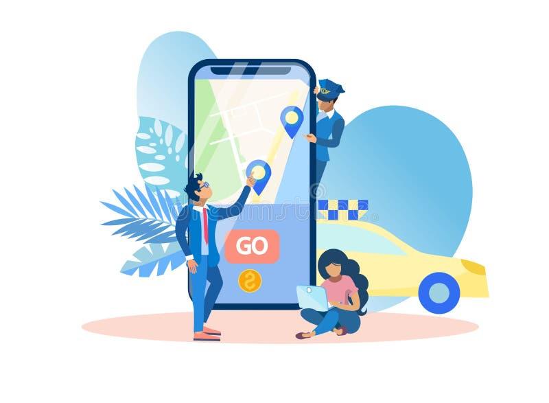 Ejemplo del vector del taxi de la llamada de la aplicación móvil libre illustration
