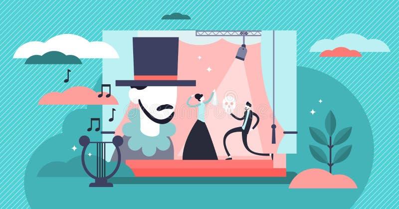 Ejemplo del vector del teatro Concepto minúsculo plano de las personas del funcionamiento de la etapa stock de ilustración