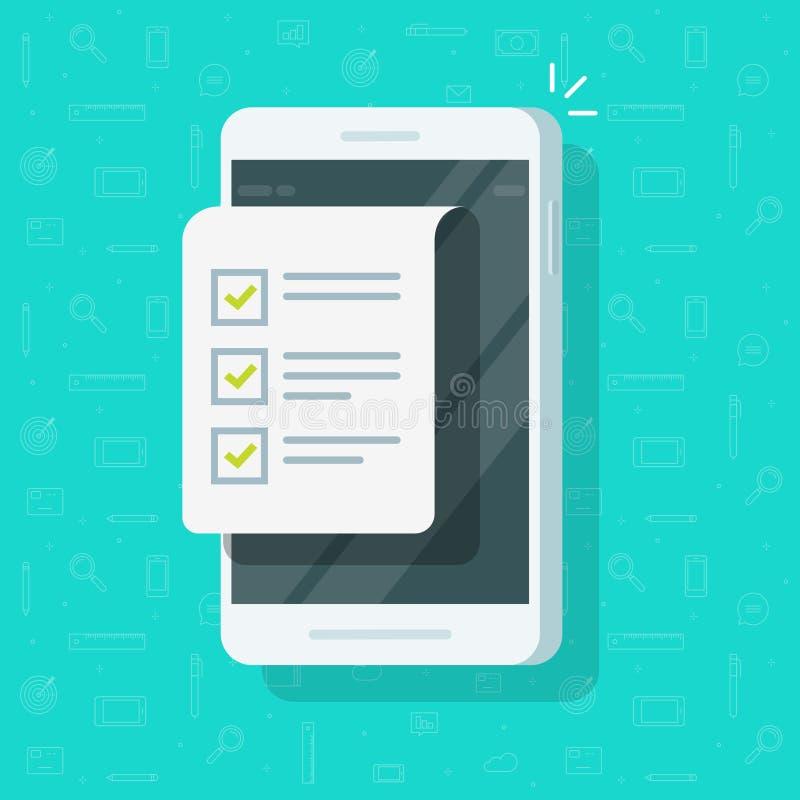 Ejemplo del vector del teléfono móvil y de la lista de control, exhibición plana del smartphone de la historieta con el documento stock de ilustración