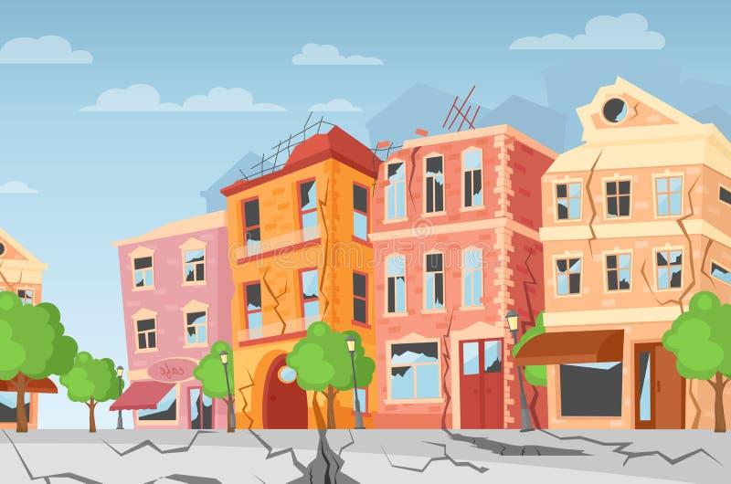 Ejemplo del vector del terremoto en la ciudad, grietas de tierra Casas coloridas de la historieta con las grietas y los daños tra libre illustration