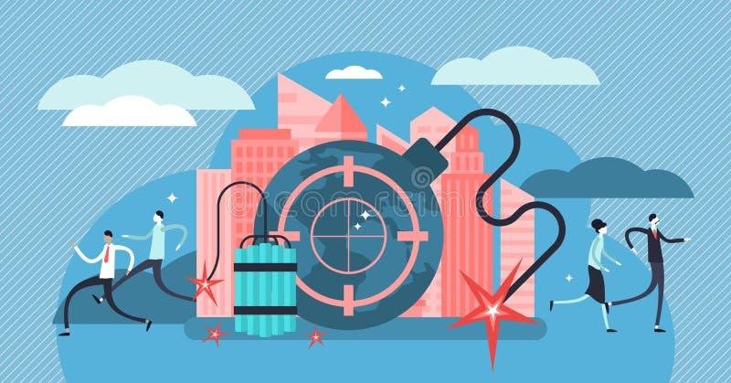 Ejemplo del vector del terrorismo Concepto minúsculo de las personas de la amenaza del ataque del peligro stock de ilustración