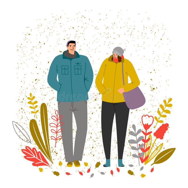 Ejemplo del vector del tiempo del oto?o Caracteres del hombre y de la mujer, humor del otoño stock de ilustración