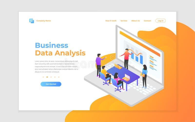 ejemplo del vector del trabajo en equipo, del análisis de negocio y de la estrategia Conceptos modernos del ejemplo del vector pa libre illustration