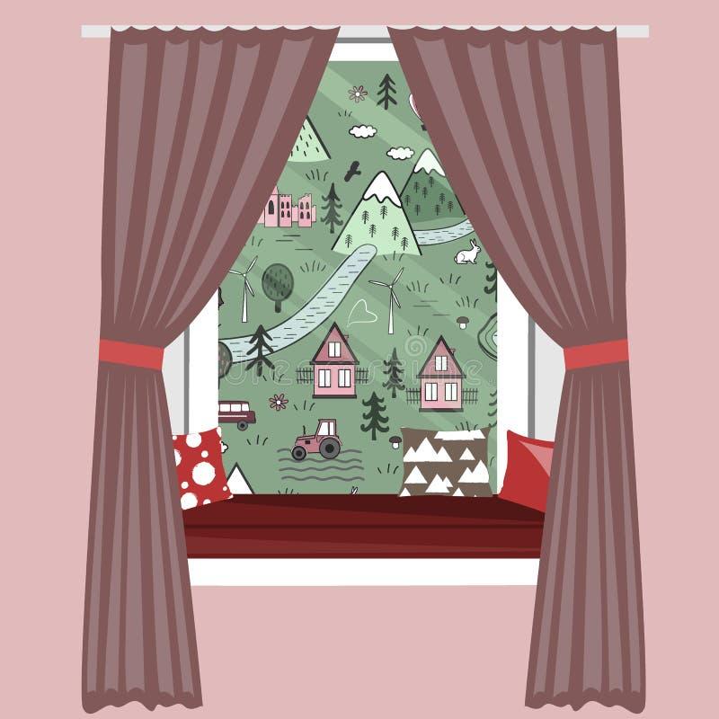 Ejemplo del vector del travesaño de la ventana de la historieta de los niños Sofá del alféizar con la opinión linda del paisaje d ilustración del vector