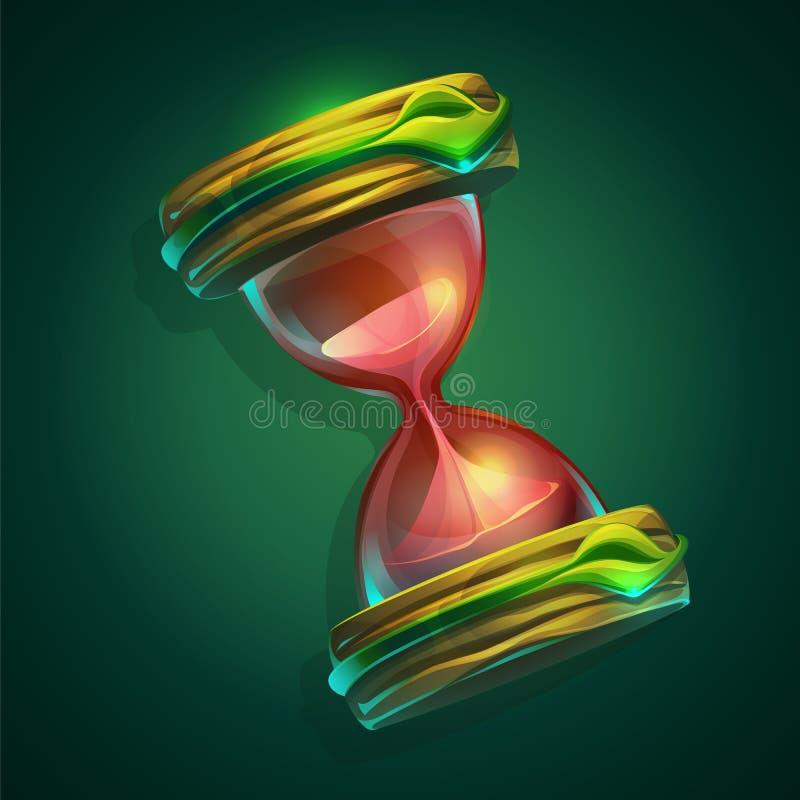 Ejemplo del vector un reloj de arena en fondo verde stock de ilustración