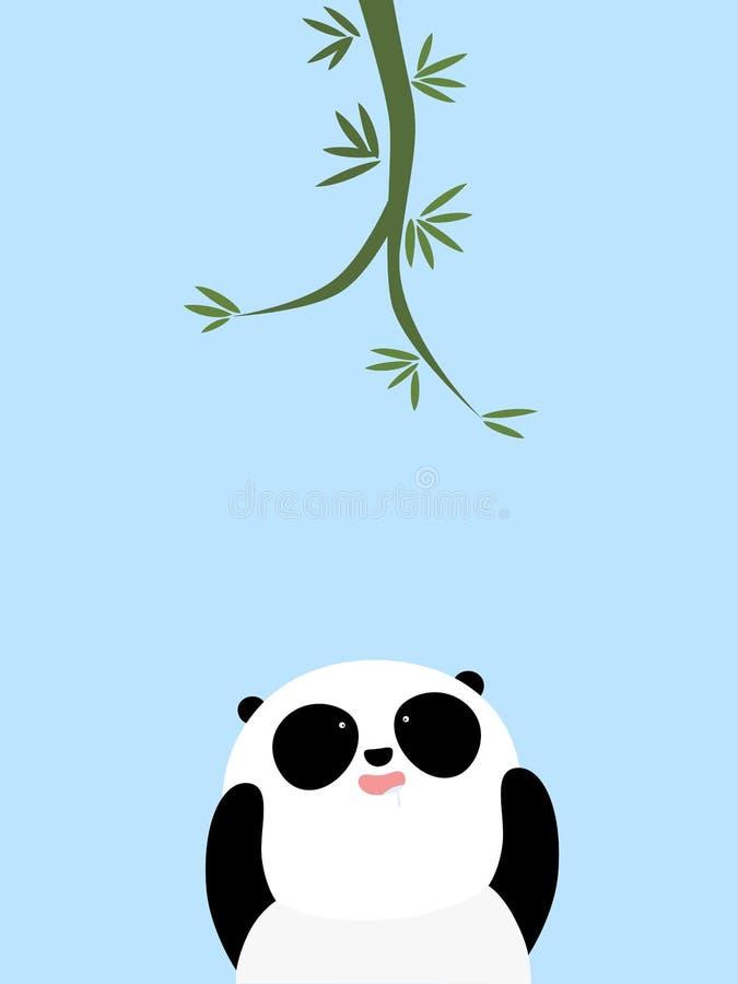 Ejemplo del vector: Una panda gigante de la historieta linda está intentando alcanzar el bambú en el árbol stock de ilustración