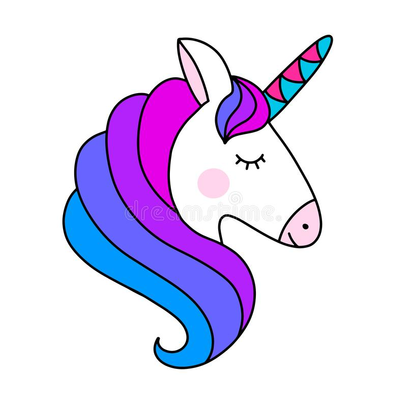 Ejemplo del vector del unicornio en colores del arco iris ilustración del vector