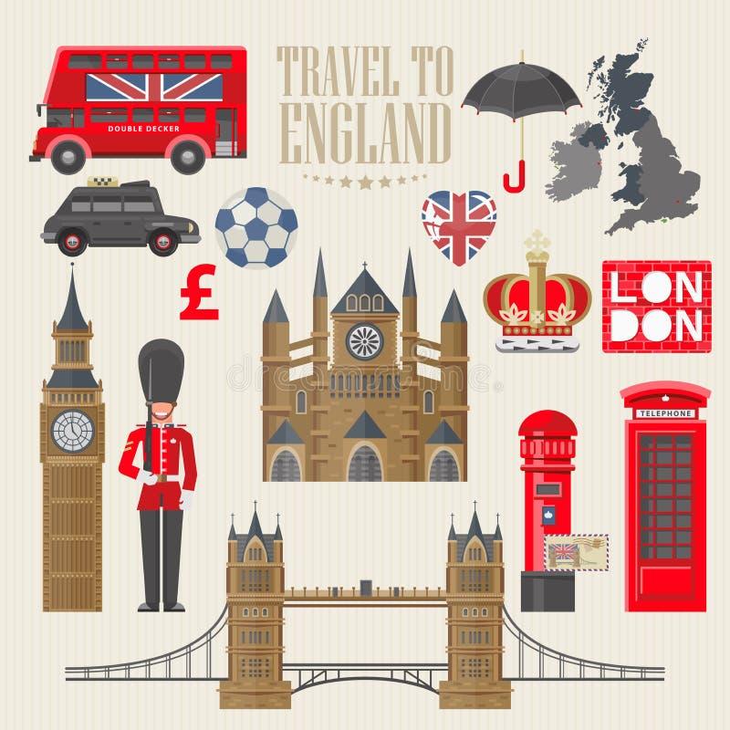 Ejemplo del vector del viaje de Inglaterra Viaje al SE de Inglaterra Vacaciones en Reino Unido Fondo de Gran Bretaña Viaje al Rei libre illustration