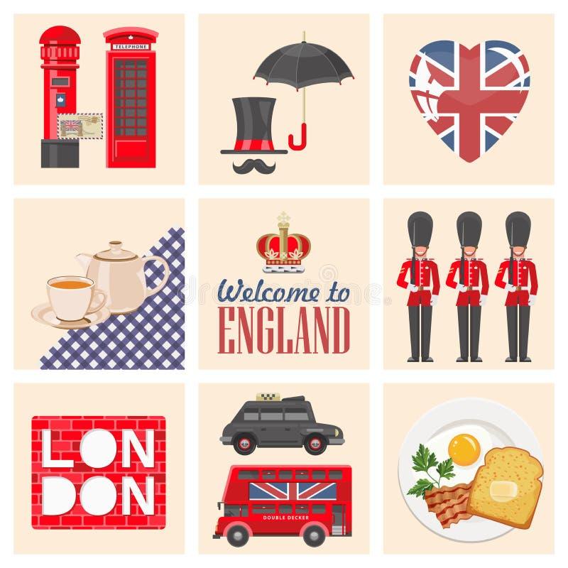Ejemplo del vector del viaje de Inglaterra 9 artículos fijados Vacaciones en Reino Unido Fondo de Gran Bretaña Viaje al Reino Uni libre illustration